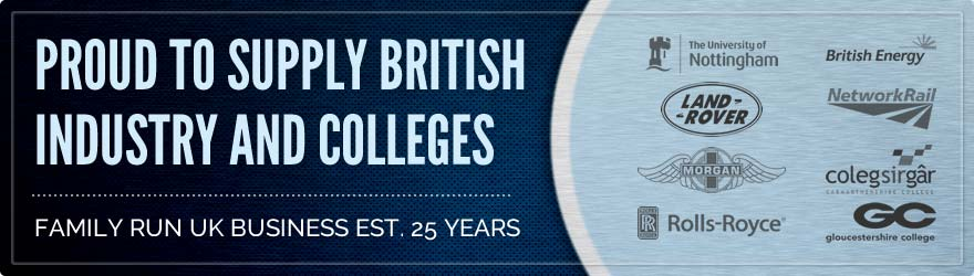PROUDLY SUPPLY BRITISH INDUSTRY & COLLEGES FAMILY RUN UK BUSINESS EST. 25 YEARS