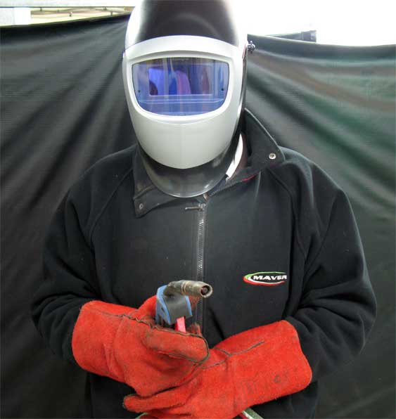 MIG welding safety clothing and mask