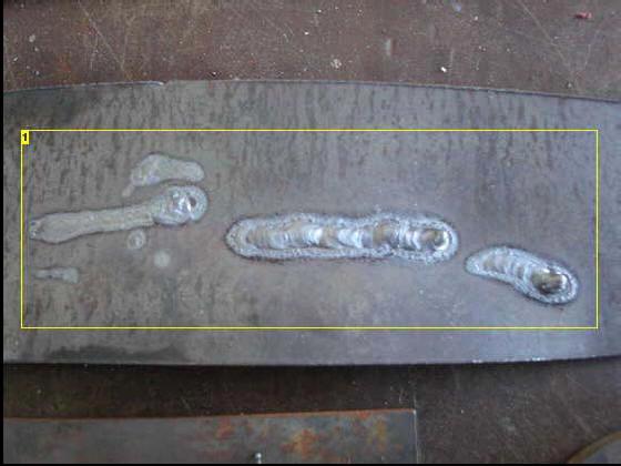 MIG welding test beads 1