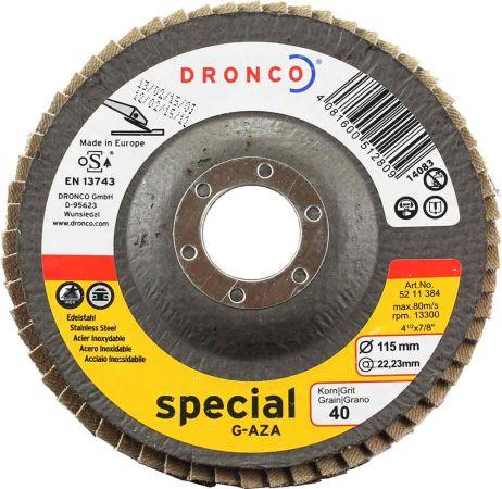 Dronco  Zirconium Flap Disc 40 Grit 4.5 inch (Tapered)