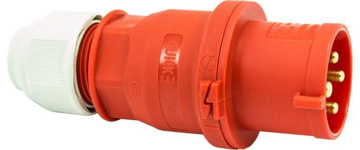 415V 32A 4 Pin Red Plug IP44 6H