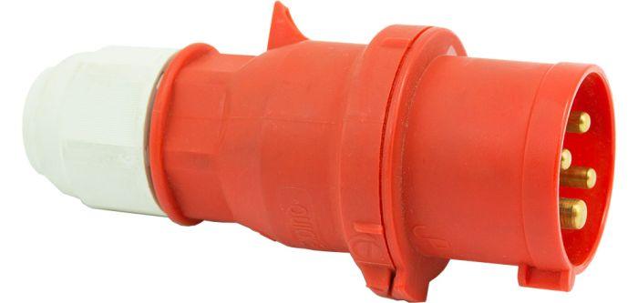 415V 16A 4 Pin Red Plug IP44 6H