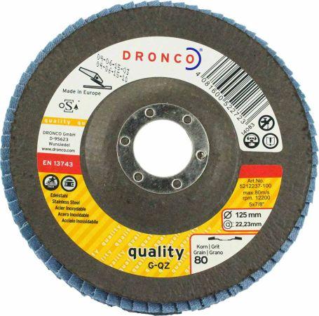 Dronco  Zirconium Flap Disc 80 Grit 5 inch (Tapered)