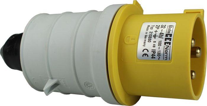 110V 32A 3 Pin Yellow Plug IP44 6H