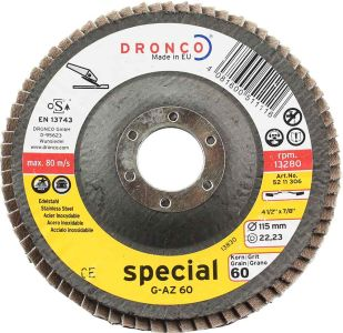 Dronco 4.5 inch Tapered Flap Disc for stainless steels