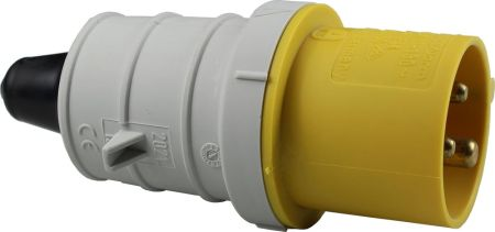 110V 16A 3 Pin Yellow Plug IP44 6H