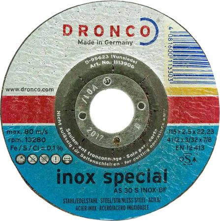 4.5 inch Dronco INOX Stainless Steel Cutting Disc